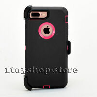 iPhone 7 Plus & iPhone 8 Plus Defender Hard Case w/Holster Belt Clip Black Pink
