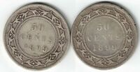 2 X NEWFOUNDLAND FIFTY CENTS VICTORIA 925 SILVER COINS 1899 NARROW & WIDE 9'S