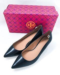NIB Tory Burch Elizabeth 40mm Pump Women Black Leather Heels Size 9M