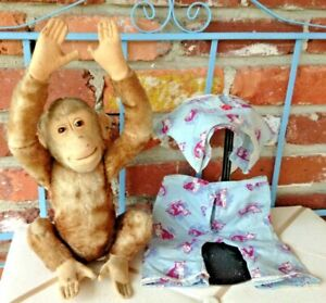 Vintage Steiff FF Button Chimpanzee - Not Monkeying Around, He's Ready For Bed!