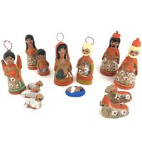 "Mexican Clay Nativity Set Hand Painted Folk Art Pottery Mexico Christmas 6"" Tall"