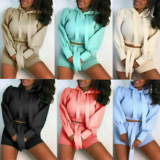 New listing Womens Ladies Puff Sleeve Cropped Ribbon Hooded Top & Short Co ord 2 Piece Suit