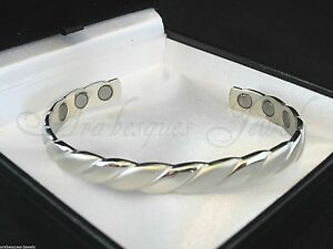 TOP QUALITY LADIES SILVER ROPE MAGNETIC COPPER BANGLE/BRACELET/PAIN RELIEF AJMB