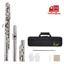 Student Flute Silver Plated 16 Holes C Key Cupronickel w/Cleaning Cloth Bag Q9J2
