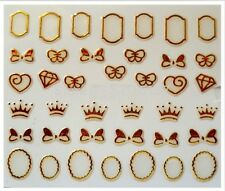 3D Nail Art Decals Transfer Stickers French Gold Crowns Diamonds Bows (3D6016)