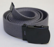 "NEW ADJUSTABLE 54"" INCH STEEL GREY CANVAS MILITARY GOLF WEB BELT BLACK BUCKLE"