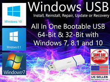 Microsoft Windows All In One USB installer 32 bit 64 bit Install PC Drivers