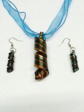 Murano Glass Spiral Earring Necklace Set