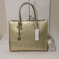 NWT Michael Kors Mercer Leather Large Convertible Tote Bag Pale Gold $298