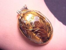 Vintage 925 Sterling Silver 2 Tone Engraved Puffy Oval Photo Locket Pendant 9g