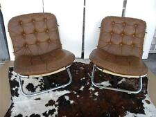 2 MID CENTURY LEATHER & CHROME HUNTING SAFARI FOLDING CHAIRS W/CANVAS POCKETS