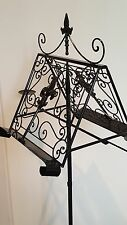 French antique double LECTERN music book recipe menu stand wrought iron black