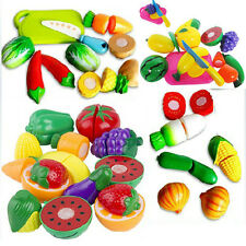 Play Food Kid Children Plastic Vegetable Fruit Toy Role Kitchen Cutting Set JRAU