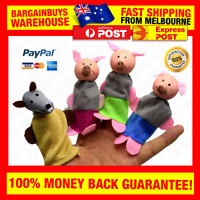 4pcs Three Little Pigs Finger Puppets Cloth Dolls Baby Educational Bedtime Story