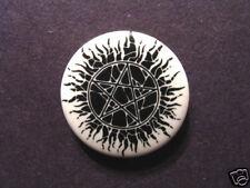 PENTAGRAM VINTAGE Button Badge PIN ART UK IMPORT GOTH DEVIL ANTI-CHRIST