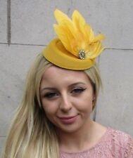 9d7a480e0a913 Mustard Gold Yellow Feather Pillbox Hat Hair Clip Fascinator Races Wedding  6287