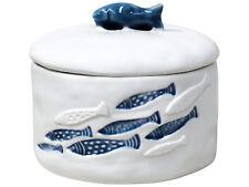 White Ceramic Round Trinket Box Blue Fish School Hamptons Coastal Home Decor