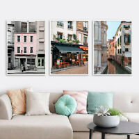 France New York House Retro Architecture Poster Cityscape Canvas Wall Art Print