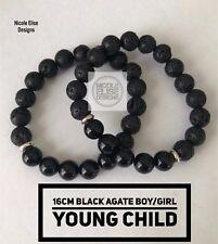 Aromatherapy diffuser bracelet lava Black Agate 8mm Essential Oils 16cm Child