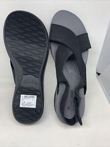Clarks Women's Arla Kaydin Sandal Black Elastic Fabric 10 W