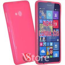 Cover Custodia Per Nokia Lumia 535 Fucsia Retro Opaco Silicone Gel TPU