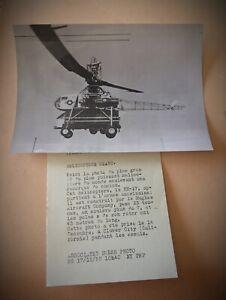 RARE ANCIENNE PHOTO LE PLUS GRAND HELICOPTER HX-17  ASSOCIATED PRESS PHOTO 1955