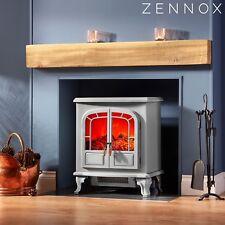 Zennox Electric Fireplace Stove Heater Log Burner Fire Effect Freestanding 2000W