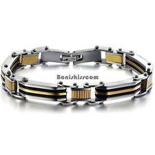 Black Silver Gold Tone Stainless Steel Link Men's Bracelet Fashion Jewelry