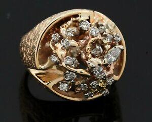 Heavy vintage 14k yellow gold 1.0ct VS-G diamond birds nest cluster mens ring