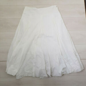 NEXT A-Line Summer Midi Skirt Size 16 White Cotton Lined Zip Holiday