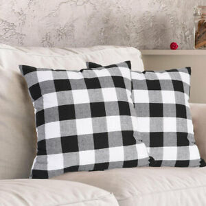 Buffalo Check Plaid Throw Pillow Covers Square Pillow Cover Cotton Linen Cushion