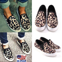 US Womens Leopard Print Slip On Flat Round Toe Sneaker Athletic Shoes Size 5-8.5