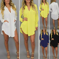 Zanzea Plus Women Long Sleeve Loose Chiffon Long Shirt Blouse Tops Mini Dress