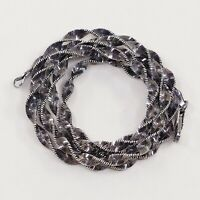 """24"""" 3mm, Italy Oxidized 925 Sterling Silver Twisted Herringbone chain necklace"""