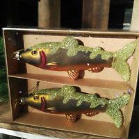 2 x Glas Gold Grün Forelle Baumschmuck Fische Fisch Christbaumkugeln Tannenbaum