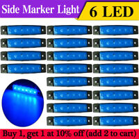20 pcs Blue 12 Volt 6 LED Side Front Marker Indicators Lights Truck Trailer Bus