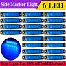 20 pcs Blue 12 Volt 6 LED Side Front Marker Indicators Lights Truck Trailer Bus