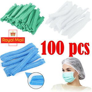 100 Disposable Caps Hair Net Food Catering Kitchen Mob Non Woven workwear Hat UK