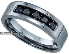 black gold wedding ring band mens natural black diamond .62-carat 10K