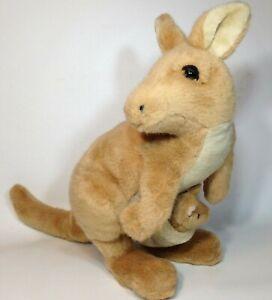 "Dakin Mama Kangaroo & Baby Joey Plush Brown Stuffed Animal Vintage Toy 15"""