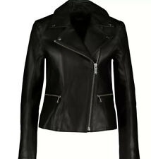 £650 KARL LAGERFELD CLASSIC BIKER 100% Lambskin LEATHER Jacket UK 10 /IT42  /US6