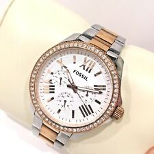 FOSSIL AM4496 CHELSEY GLITZ WHITE FACE ROSE GOLD CASE BAND LADIES 2 TONE RARE