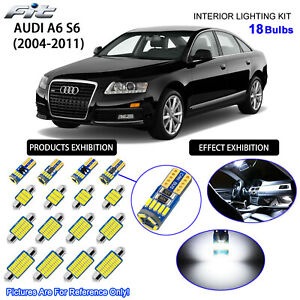 18 Bulbs LED Interior Dome Light Kit Cool White For C6 2004-2011 AUDI A6 S6 RS6