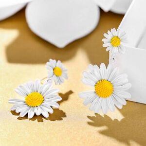 Fashion Long Daisy Camellia Flower Earrings Women Ear Stud Drop Dangle Jewelry
