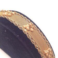 Vtg Designer GOLDETTE N.Y. Mesh Faux Seed Pearl Leaf Bracelet Estate Jewelry