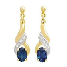SAPPHIRE DIAMOND EARRINGS. NATURAL BLUE SAPPHIRES + 6 DIAMONDS. 9K SOLID GOLD.