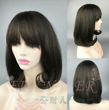 Hot sell fashion dark brown middle long straight wig pear flower head neat bang