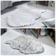 AURA FAUX FUR GLACIER SPARKLY SHEEPSKIN GREY IVORY ANIMAL SKIN SHAPED SOFT RUG