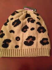 NEW Styles For Less Brown/Black Spotted Knit Beanie Hat One Size NICE!!