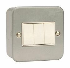 Metal Clad 3 Gang 2 Way Light Switch